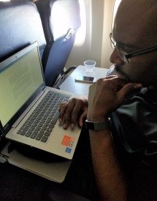 JP Robinson drafts his next novel, a young adult thriller while en route to teach a writing workshop at the Colorado Christian Writers conference