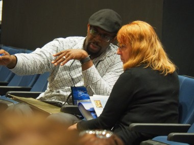 Author JP Robinson meeting with Colorado Christian Writers' Conference  attendee